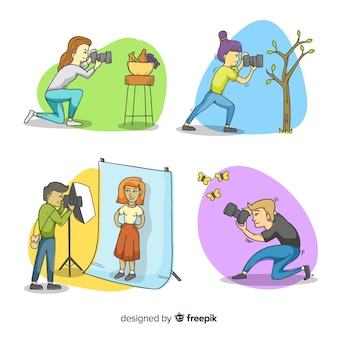 Conjunto de fotógrafos tirando fotos diferentes