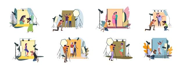 Conjunto de fotógrafos tirando fotos e fotografar pessoas em estúdio