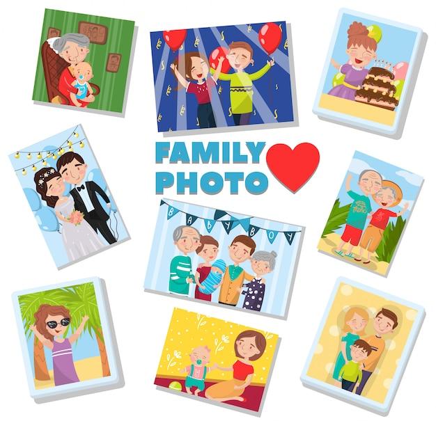 Conjunto de fotos de família, retratos de membros da família, melhores lembranças em fotos de várias gerações