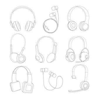 Conjunto de fotos de linha mono de vetor de fones de ouvido