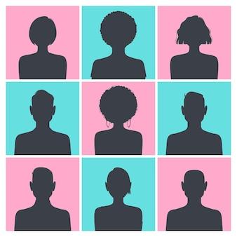 Conjunto de fotos de perfil de avatar de silhueta isoladas em um quadrado azul e rosa.