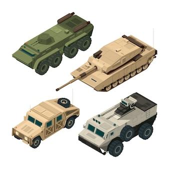 Conjunto de fotos isométrica de vetor de diferentes veículos militares isolar em branco