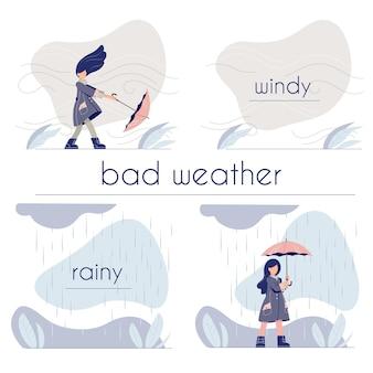 Conjunto de fotos sobre o clima na cama. menina bonito dos desenhos animados andando com guarda-chuva.