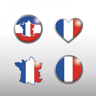 Conjunto de frança mapa e bandeira emblema decoração