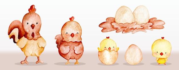 Conjunto de frango animal de fazenda bonito em aquarela