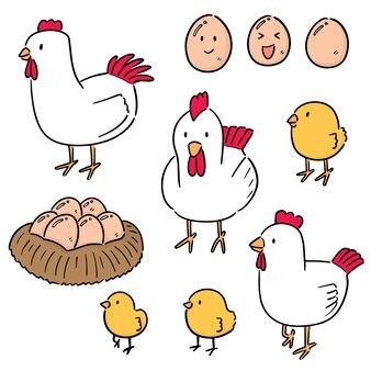 Conjunto de frango e ovo