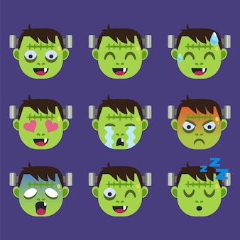 Conjunto de frankenstein emoticon sticker isolated