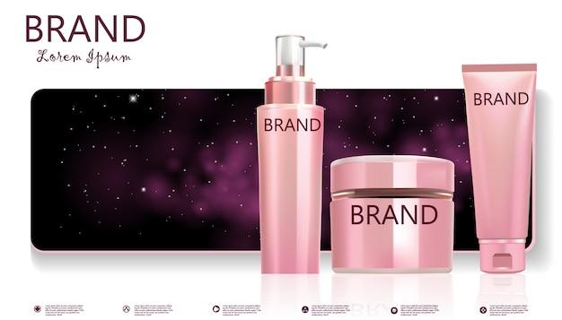 Conjunto de frasco cosmético na bandeira de galáxia rosa