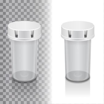 Conjunto de frasco de comprimidos brancos sobre fundo transparente