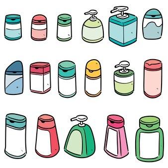 Conjunto de frasco de shampoo e sabonete líquido