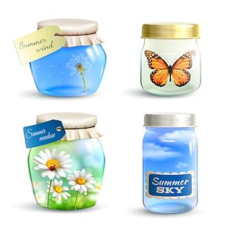 Conjunto de frasco de verão