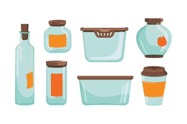 Conjunto de frasco de vidro e recipiente e garrafa. coleção vazia de vidraria de cozinha.