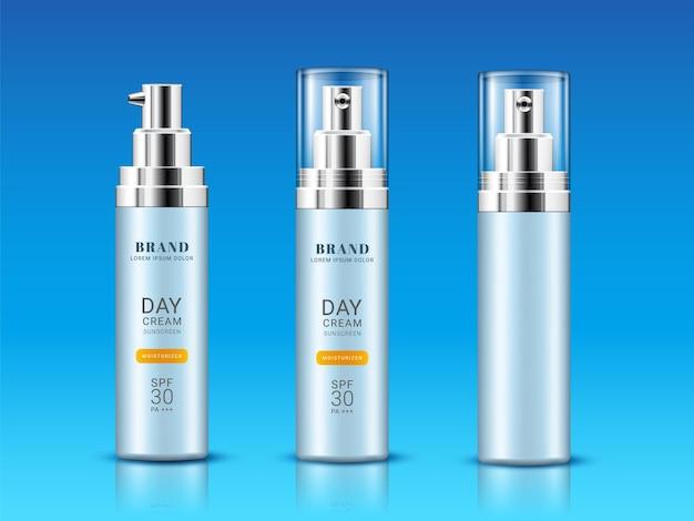 Conjunto de frasco isolado para creme de proteção solar ou frasco realista para marca de proteção contra queimaduras solares e