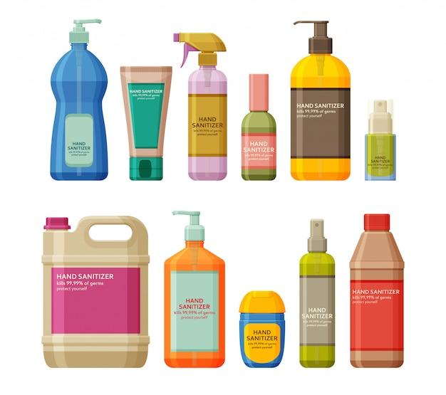 Conjunto de frascos com anti-séptico e desinfetante para as mãos. gel de lavagem e spray. equipamento de proteção individual durante a epidemia. ilustração