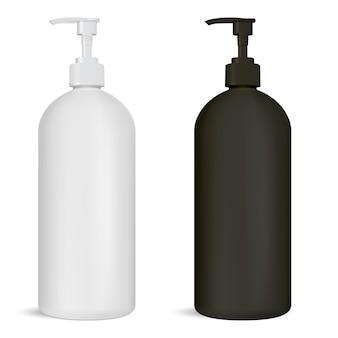 Conjunto de frascos com bomba preto e branco pacote de cosméticos