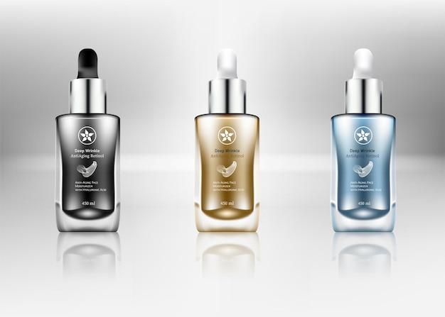 Conjunto de frascos conta-gotas realista frascos para cosméticos em branco para medicamentos líquidos - modelo de frascos transparentes