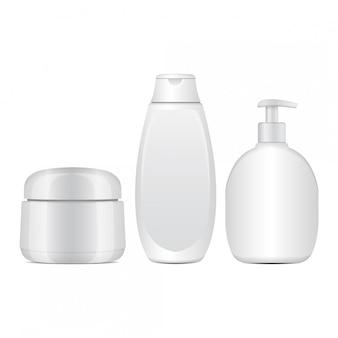 Conjunto de frascos de cosméticos brancos. tubo realista ou recipiente para creme, pomada, loção. frasco cosmético para xampu. ilustração