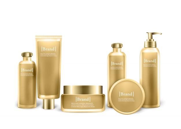 Conjunto de frascos de cosméticos com etiqueta de design mock up
