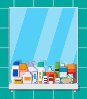 Conjunto de frascos de cosméticos de várias cores.