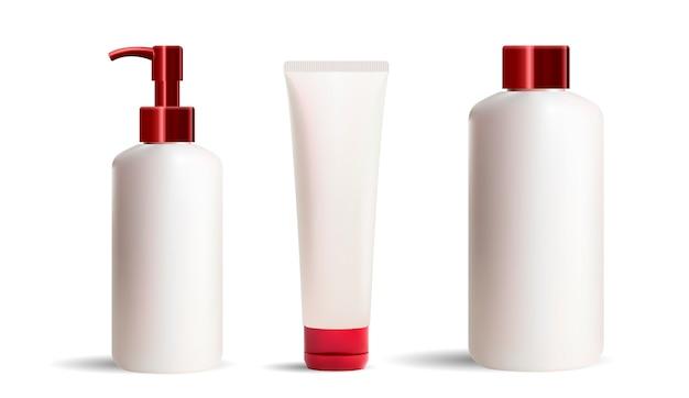Conjunto de frascos de cosméticos e maquete de tubos
