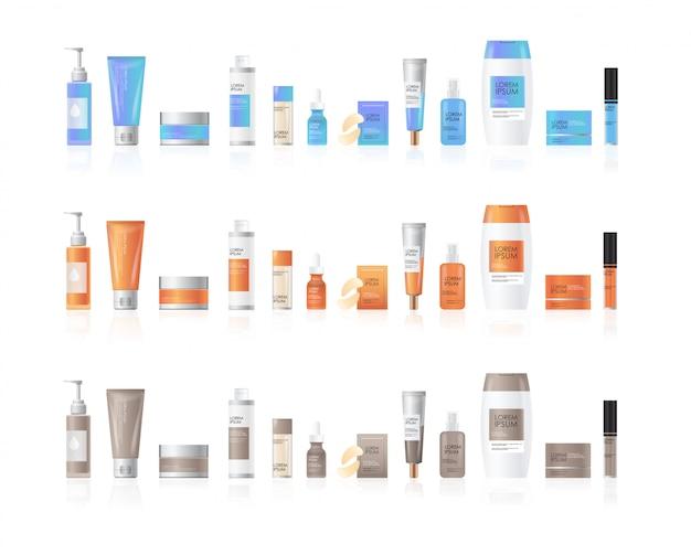Conjunto de frascos de cosméticos ou perfumes produtos de spa de beleza embalagens de skincare de cosméticos naturais marca o conceito de tratamento de pele coleção realista de pacotes