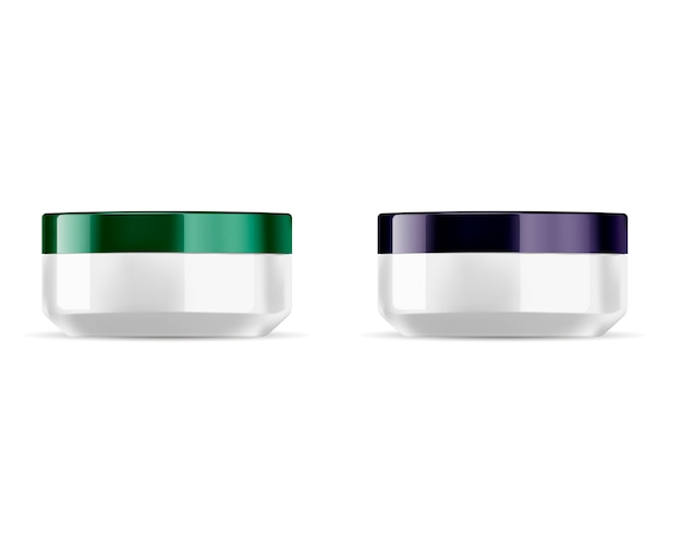 Conjunto de frascos de cosméticos redondo, verde brilhante, tampa violeta