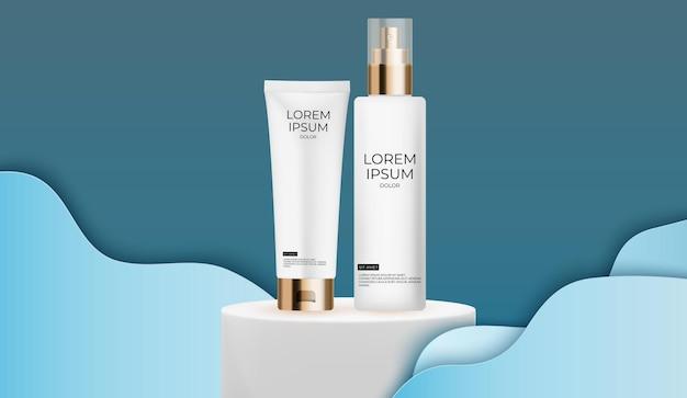 Conjunto de frascos de creme 3d realista modelo de design de produtos de cosméticos de moda