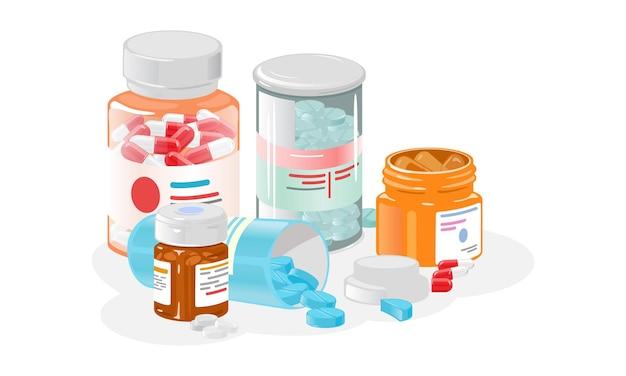 Conjunto de frascos de desenho animado com comprimidos