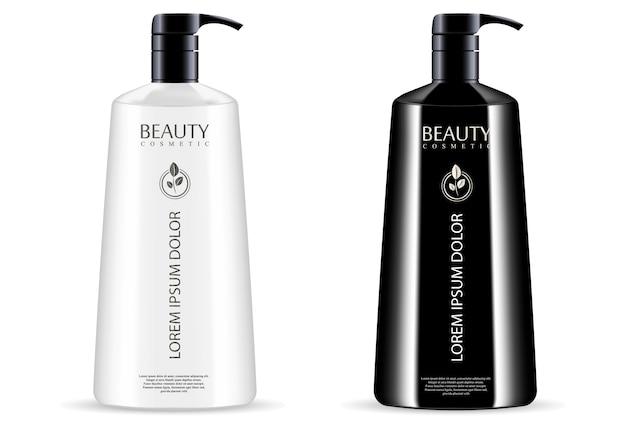 Conjunto de frascos de dispensador de bomba cosméticos branco preto