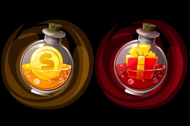 Conjunto de frascos de elixir isolados com presente e moeda