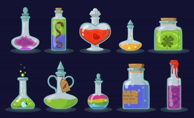 Conjunto de frascos de elixir
