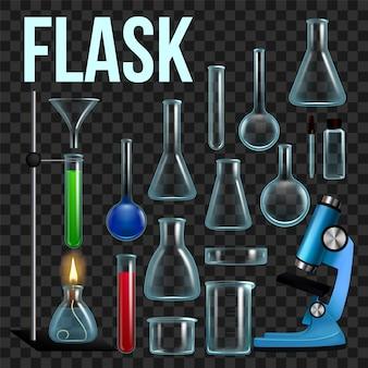 Conjunto de frascos de laboratório