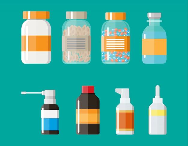 Conjunto de frascos de medicamentos com rótulos e pílulas