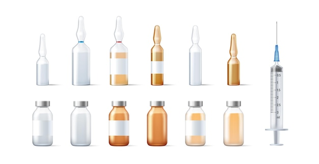 Conjunto de frascos de modelo de vidro e ampolas para medicamentos e embalagem de vacina isolada.