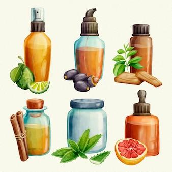 Conjunto de frascos de óleo essencial de aquarela