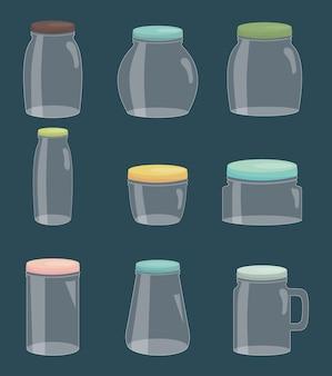 Conjunto de frascos de pedreiro coloridos