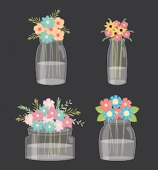 Conjunto de frascos de pedreiro com decoração floral