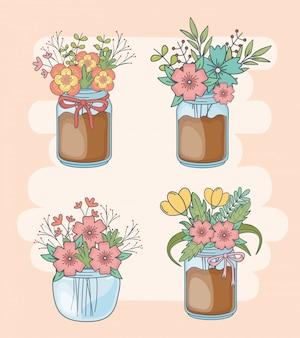 Conjunto de frascos de pedreiro com decorações florais