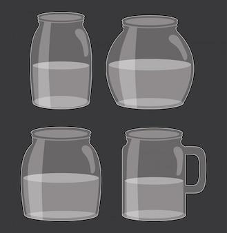 Conjunto de frascos de pedreiro com líquido