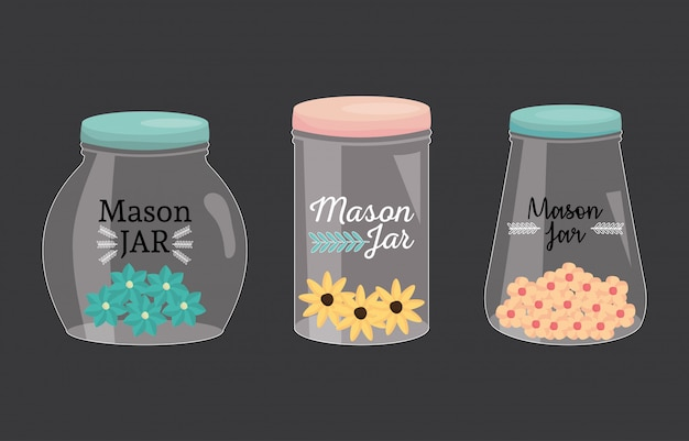 Conjunto de frascos de pedreiro com tampa e flores