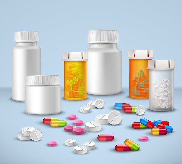 Conjunto de frascos de pílula