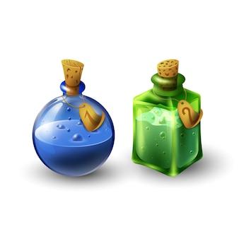 Conjunto de frascos de poção. elixires.
