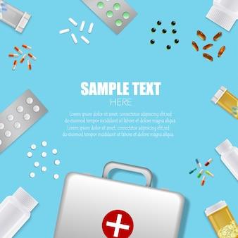 Conjunto de frascos de remédio com comprimidos e caixa de primeiros socorros