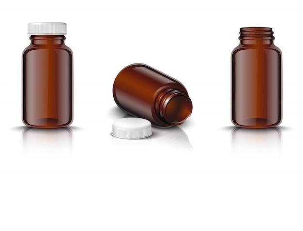 Conjunto de frascos de remédio em vidro marrom com tampa branca. icon ilustração em fundo branco.