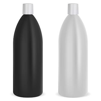 Conjunto de frascos de shampoo. pacote de maquete em preto e branco