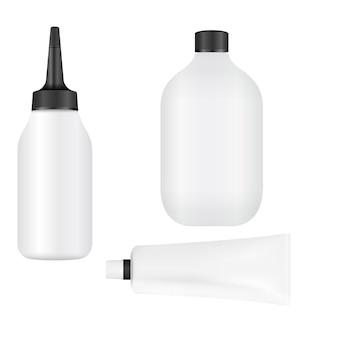 Conjunto de frascos de tintura para cabelo embalagem para pintura