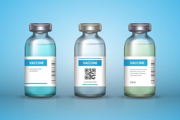 Conjunto de frascos de vacinas médicas no backround. vacina - vidro transparente. proteção coronavírus e infecção. ilustração realista.