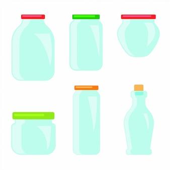 Conjunto de frascos de vidro plano para conservas e conservas.