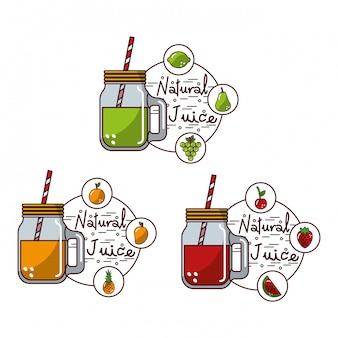 Conjunto de frascos de vidro saboroso frutas suco natural