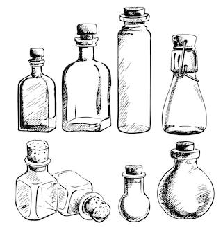 Conjunto de frascos de vidro vazios e garrafas de várias formas. ilustração desenhados à mão.